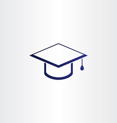 Student graduation cap blue icon vector