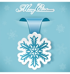 Christmas sticker with snowflake vector