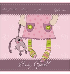 Pink baby girl card vector