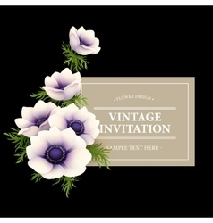 Greeting card with anemone flower vector