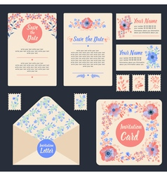 Greeting cards set with flowers stationary wedding vector