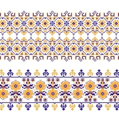 Set of ethnic ornament pattern with cross stitch vector