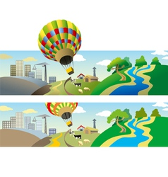 Flying balloon vector
