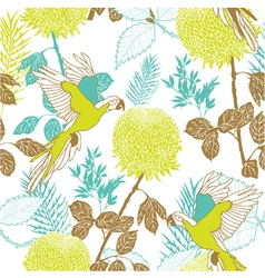 Retro parakeet pattern vector