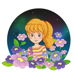 A pretty girl and the flowers vector image vector image