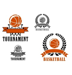 Basketball sport emblems or badges vector image