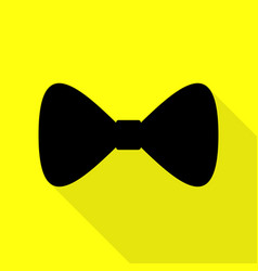 Bow tie icon black icon with flat style shadow vector