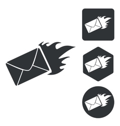 Burning envelope icon set monochrome vector