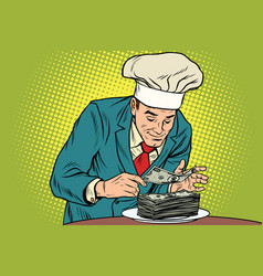 Businessman chef and the final banknote vector