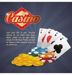 cards chips coins casino icon vector image vector image