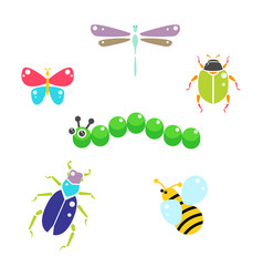 cartoon insects colorful set on white vector image