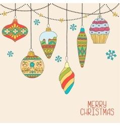 Christmas hand drawn decorative balls vector image