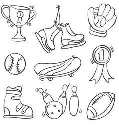 Collection sport equipment doodle hand draw vector