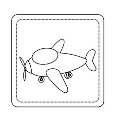 Contour toy airplane fly picture icon vector