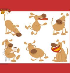 cute dog cartoon characters vector image vector image