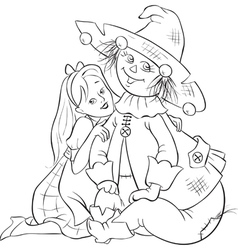 Dorothy and scarecrow wizard of oz outlined vector