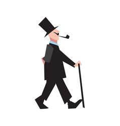Elegant victorian gentleman in tuxedo and cylinder vector