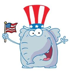 Elephant Waving An American Flag vector image vector image
