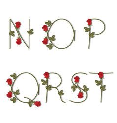 Floral alphabet red roses with shadow from n to t vector