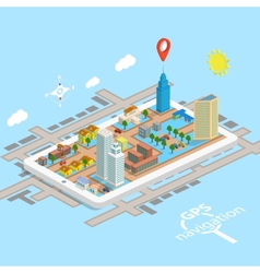 GPS Mobile Navigation Isometric Map vector image