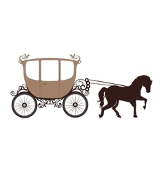 Horse carriage behicle vector