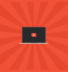 laptop video play button vector image