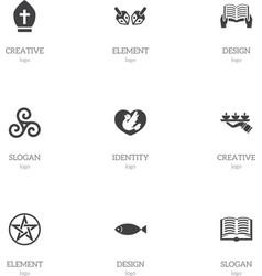 Set of 9 editable faith icons includes symbols vector
