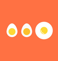 Set of boiled eggs flat icons for food vector