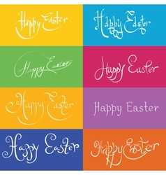 Set of hand drawn typograhy happy easter vector