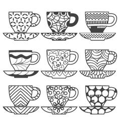 set of Set of cups of tea vector image