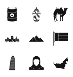 Stay in uae icons set simple style vector