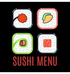 Sushi menu food logo template black vector