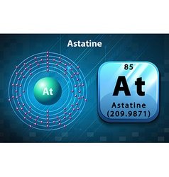 Symbol and electron diagram for astatine vector