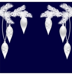 Two silver fir twigs with beautiful toys for the vector image