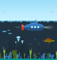Underwater Submarine vector image