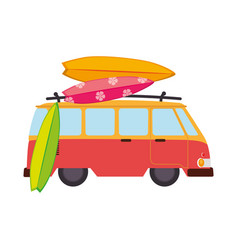 Van travel summer icon vector