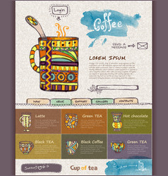 web site design template Decorative cup of coffee vector image vector image