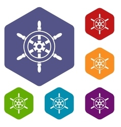 Wheel of ship icons set vector image vector image