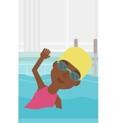 Woman swimming in pool vector image vector image
