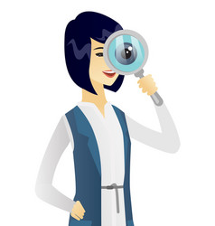 Young asian business woman with magnifying glass vector