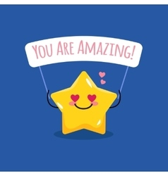 cartoon star with motivational vector image