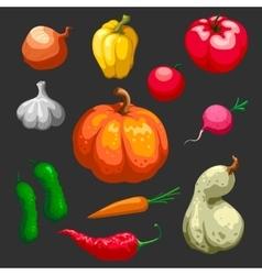 Farmers vegetables decorative icons set vector