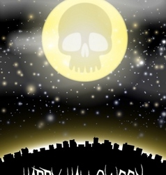 Halloween city witj skull moon theme vector