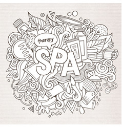 Spa hand lettering and doodles elements vector