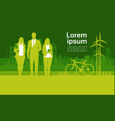 Green silhouette businesspeople group over city vector