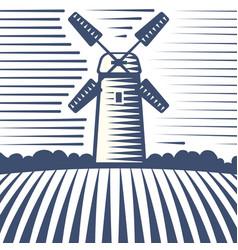 retro landscape windmill farm vector image