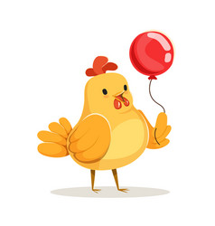 Funny cartoon chick bird standing with red balloon vector