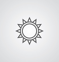Sun outline symbol dark on white background logo vector