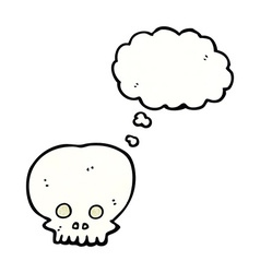 Cartoon spooky skull symbol with thought bubble vector