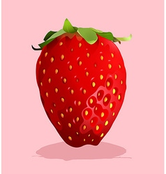Fresh strawberry with stem on vector